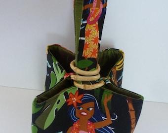 Black cotton Hawaiian Aloha Girls print, three bamboo ring closure and green or pink dupioni silk interior - handy wrist strap -  Trio Purse