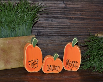 Personalized Pumpkin Block Set Thanksgiving Decor Shelf Sitter Stacker Home Decor Personalized Stacking Blocks Primitive Pumpkin Place Card