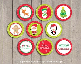 Kids Christmas Cupcake Toppers / Christmas Printable Cupcake Toppers / Christmas Cake Toppers / Christmas Favor Tags /  INSTANT DOWNLOAD
