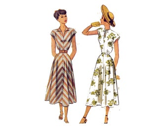 1940s Summer Dress Pattern - Bust 32, Collar or Tie Neckline, Cap Sleeve in one with Bodice - Vintage Sewing Pattern - McCall 7286