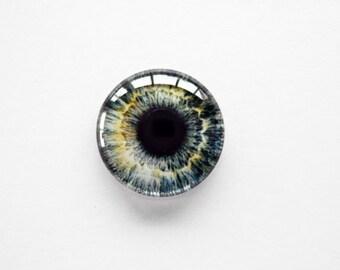 18mm handmade glass eye cabochon - grey eye - standard profile
