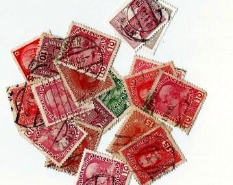 10 Vintage Austrian Postage Stamps - Scrapbooking, collage, altered art
