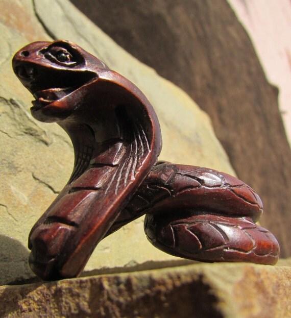 Wood snake carving carved cobra figurine