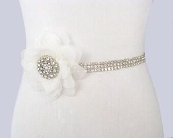 Wedding Sash, Rhinestone Flower Bridal Belt, Crystal Dress Sash, Silver Jeweled Bridal Belt, 35 Satin Ribbon Options- Ivory / White