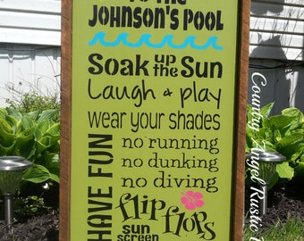 Sign outdoor sign deck sign cabin cottage backyard sign swimming