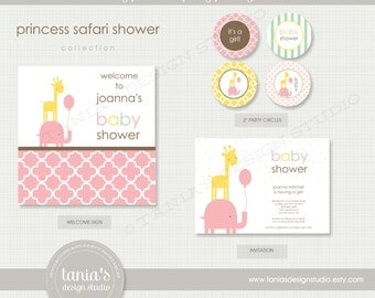 Princess Safari Baby Shower Printable Party Package by tania's design studio