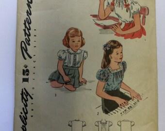 Vintage 1944 Simplicity 1209 Girl's PEASANT BLOUSE pattern size 2 UNUSED
