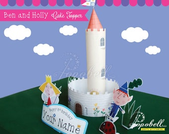Ben and Holly Cake Topper for Ben and Holly's Little Kingdom Birthday Party. Personalized DIY Printable for Ben & Holly Centerpiece. Digital