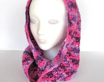 Pink and Purple Crochet Infinity Scarf Neckwarmer Circle Scarf Cowl