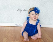 SET-Royal Blue Lace Petti Romper-Lace Headband-Baby Girl Clothes-Preemie-Newborn-Infant-Child-Toddler-Baptism-Wedding-Flower Girl Dress-Chic