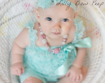 Aqua Blue Baby Girl Headband-Lace-Pearl-Preemie-Newborn-Infant-Toddler-Child-Baptism-Wedding-Flower Girl-Chic-Pretty-Vintage-Photography