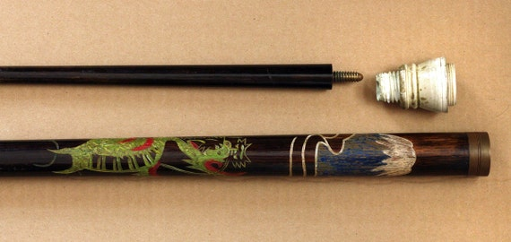 1950s Japanese Pool Cue And Walking Stick Hand Carved Dragon