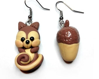 Squirrel and Acorn earrings in polymer clay