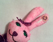 Adorable - Plush - Fabric - Pink - Bunny - Stuffed animal - Toys  - Children - Hand Stitched - Cuddly - Gift Idea -  sewheartfeltshop - SewHeartFeltShop