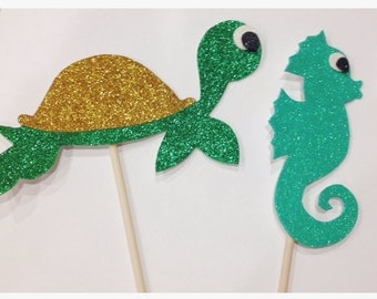 Glittery Sea Turtle and Sea Horse Photo Booth Props; Under the Sea Birthday Props; Additional Mermaid Props (handmade)