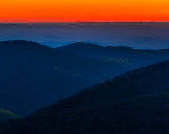 Sunrise over the Appalachian Mountains in Shenandoah National Park, Virginia - Landscape Photography Fine Art Print or Wrapped Canvas