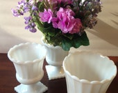 yesteryears white milk glass garden trio; planter and footed urn vase; vintage shabby chic décor wedding reception collectible