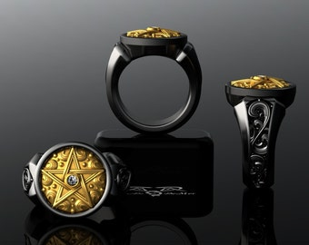 Supernatural Ring. Diamond Arra Star, Pentagram, Pentacle, Crowley. Black Silver and 14kt solid gold. secret society magick wiccan gothic