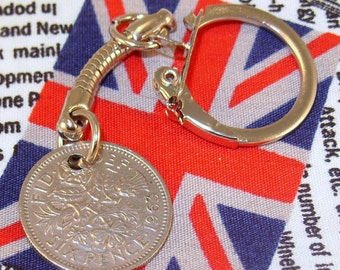 Lucky 1963 6d Sixpence English Coin Keyring Key Chain Fob Queen Elizabeth II