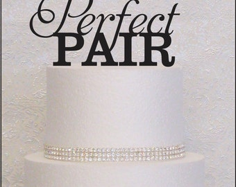 Perfect Pair Monogram Wedding Cake Topper in Black, Gold, or Silver