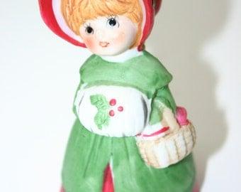 Vintage Christmas bell Old Fashioned Dressed girl porcelain