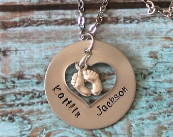 New Mom, Push Present, Hand Stamped Personalized Mommy Necklace - Adoption, Baby Feet, New Baby