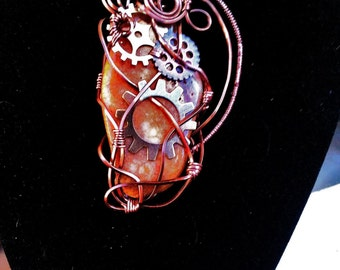 Steampunk Wire Wrapped Necklace Copper Gears Gemstone Womans teen jewelry statement necklace Silver Brass gift ideas