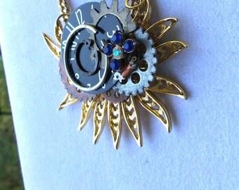 Steampunk Octopus Necklace Goth Vintage Watch Parts gears necklace steampunk jewelry victorian steampunk industrial urban jewelry