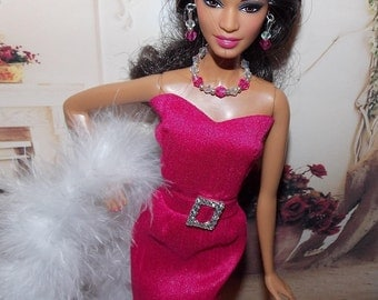 Pink & Clear Necklace and Earrings  1:6 Scale Fashion Doll Jewelry