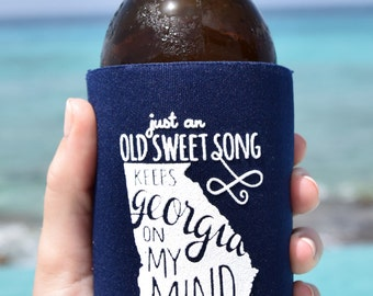 Georgia On My Mind Can Cooler Beer Cozy in Navy