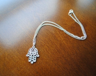 Hamsa Hand Necklace // Silver Color