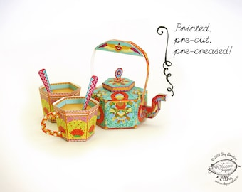 Printed Papercraft DIY Paper Toy /Favor Box | Masala Chai Kettle and 2 Cups: Set of 3 containers | Printed, Pre-cut, Pre-creased gift
