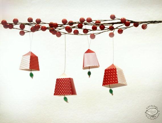 Red Green N Black Christmas Bells Ornaments Diy Paper