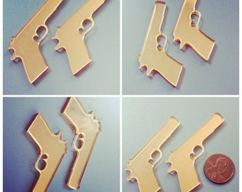 2x laser cut acrylic large gun cabochons (gold mirror)