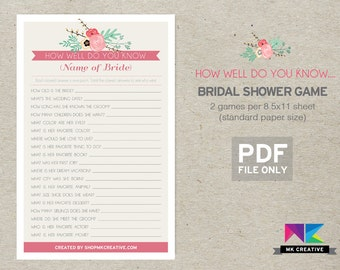 Personalized Bridal Shower Game / How Well Do You Know...  / Bridal Shower Game / Bride Quiz / Bride Questions / Floral