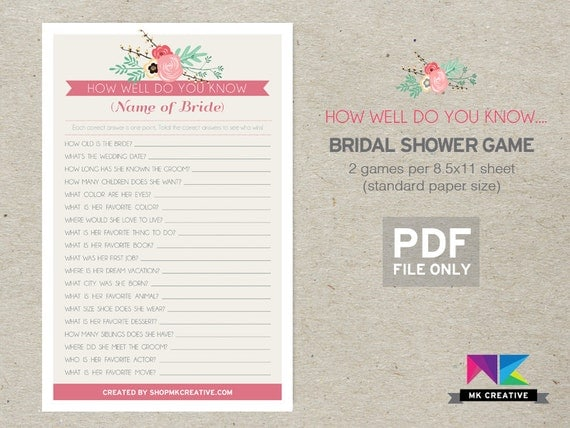 Personalized Bridal Shower Game / How Well Do By