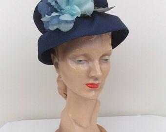 1960's Jonquil Navy Blue Straw Cloche Hat