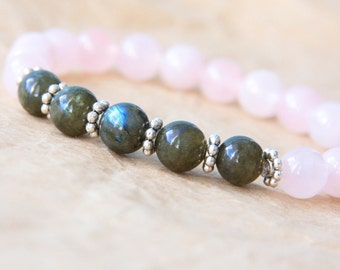 Healing Bracelet, Yoga Mala Bracelet, Sterling Silver Mala Jewelry, Labradorite & Rose Quartz - Emotional Healing, Strength and Spirituality