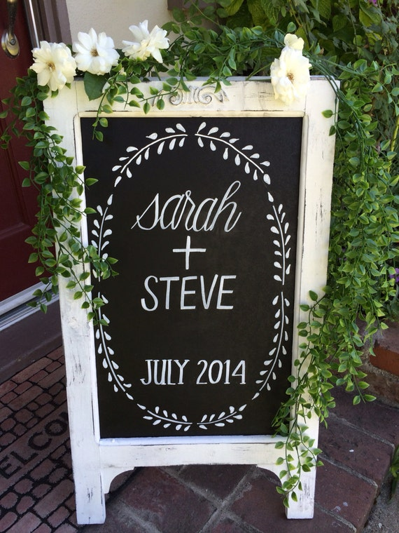 Items Similar To Chalkboard Easel Wedding Chalkboard