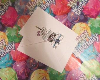 Happy Birthday Greeting Card, Happy Birthday Card, Birthday Card,Birthday Note Card,Birthday Present,Birthday Message,Handmade Birthday Card
