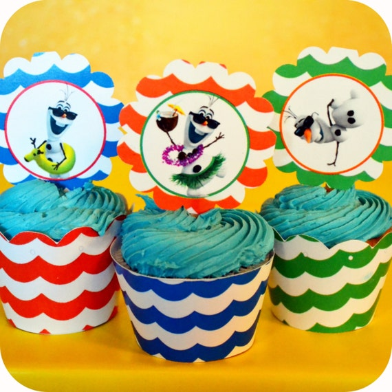 Frozen birthday party cupcake toppers amp cupcake wrappers olaf summer