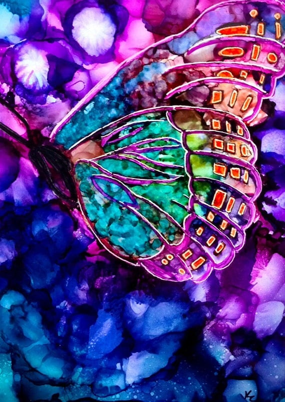 Alcohol ink painting. Abstract Butterfly