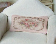 Dollhouse Miniature, Pink Floral Aubusson Cushion, Dolls House Pillow, French Style, Shabby Cottage Chic, 1:12th Scale