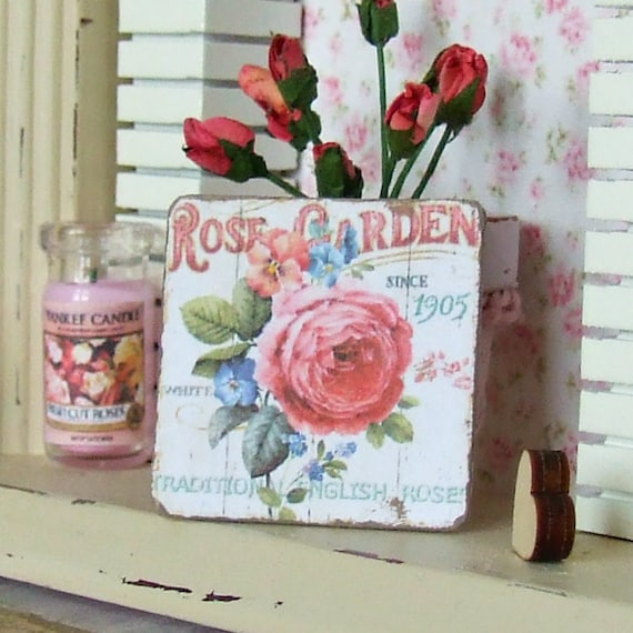 Dollhouse Miniature, Rose Garden Sign, Flower Picture, Shabby Cottage Chic, 1:12th Scale