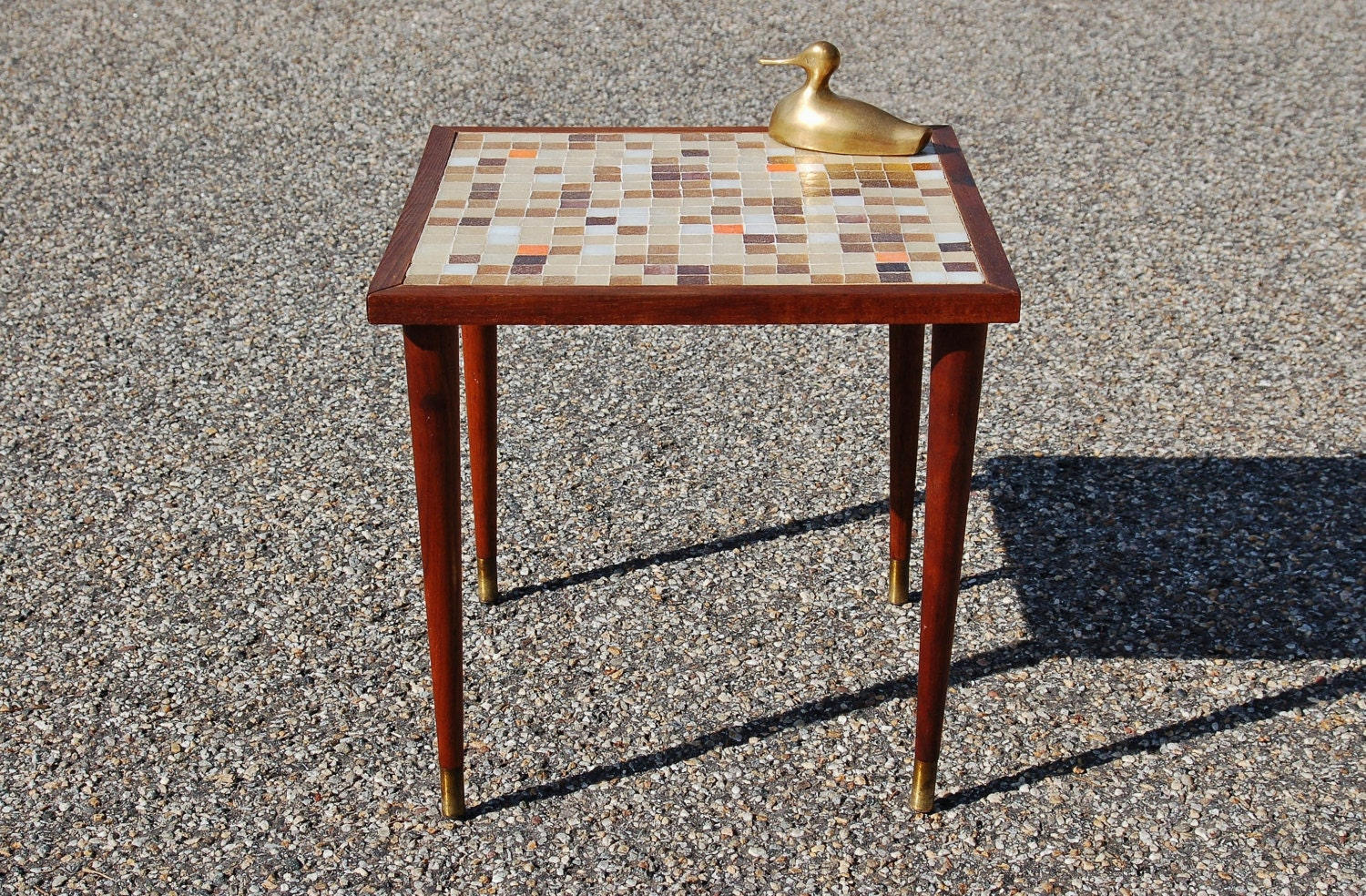 Mid century tile top table mid century modern mosaic tile for Hide tr in table