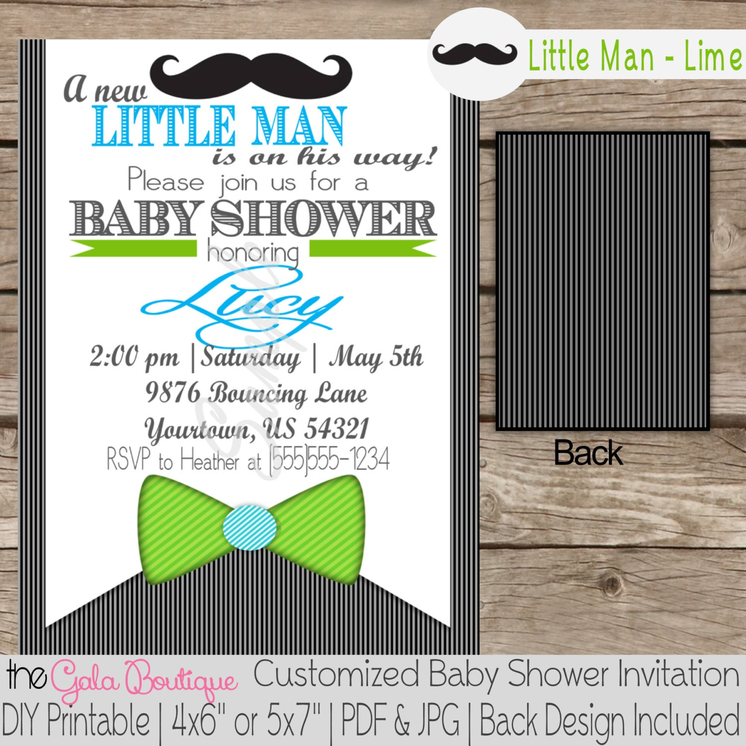 Little Man Baby Shower Invitation Digital DIY by TheGalaBoutique