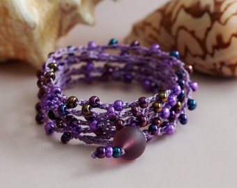 SALE - Beaded Crochet Wrap, Purple Bead Bracelet, Crochet Jewelry, Bohemian Jewelry, Crochet Necklace, Crochet Anklet, Crochet Bracelet