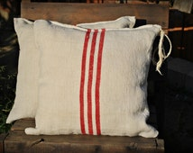 Authentic Grain Sack Pillow Cover/Antique linen/ Handwoven hemp fabric/Red Stripes/Handmade Pillow Sham - Christmas