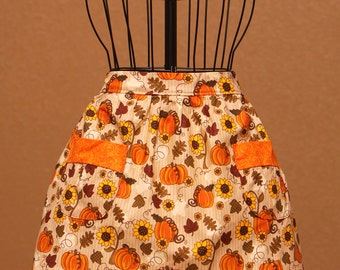 Childrens Apron - Half Apron for the Fall, Autumn, or Thanksgiving with pumpkins and sunflowers.