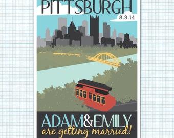 Printable Save the Date Postcard - Pittsburgh Theme